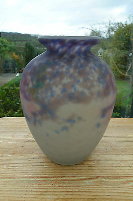 1930 French Art Deco Muller Fres Luneville  Heavy Frosted Glass Vase