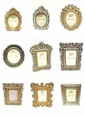 Vintage Style Cream Gold Silver Metal Rectangle Oval Photo Frames Decoration