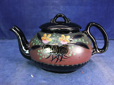 Pretty Victorian Hand Painted Mourning Tea Pot c.1900 [9324]
