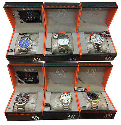 Job Lot of x6 Brand New Metal Strap Men's Wrist Watches 6 Watches