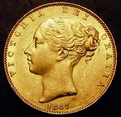 1847 AUNC Queen Victoria Sovereign Double Stampted A in Gratia Error CGS 70