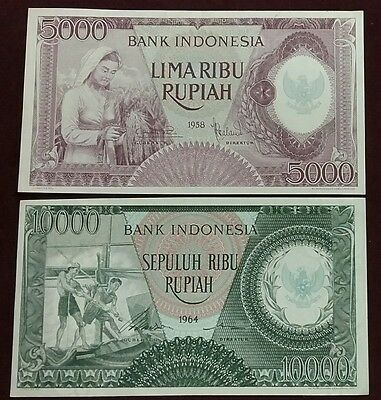 INDONESIA UNC LOT 1958 5000 + 1964 10000 Rupiah Note P-64 P-101b World Banknotes