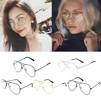 Women Men Large Oversized Metal Frame Clear Lens Round Circle Eye Glasses Nerd T