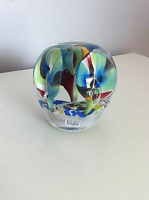 Sea Of Sweden Kosta Boda Glass Paperweight Scandinavian Art Glass Studio Glass