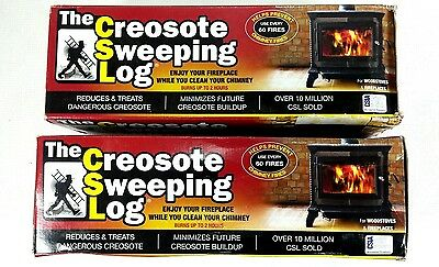 2 FIRE PREVENTION Creosote Sweeping Logs Creosote Remover Fireplace Cleaner SAVE