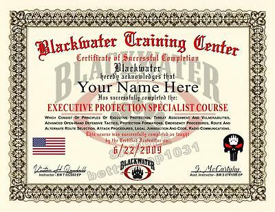 BLACKWATER Certificate Prop EXECUTIVE PROTECTION SPECIALIST COURSE ***Custom***