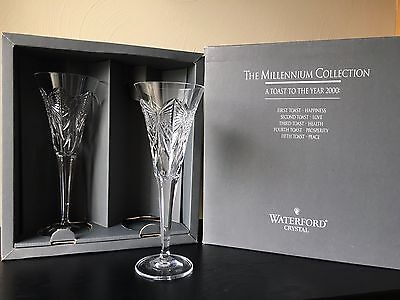 Waterford Crystal Millennium Collection First Toast Flute Pair Happiness