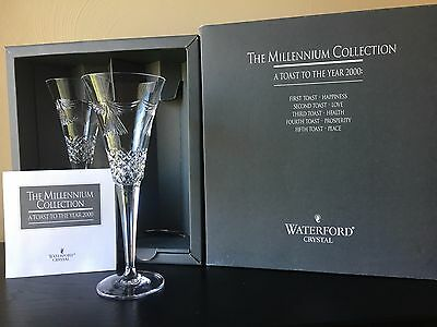 Waterford Crystal Millennium Collection 2000 Fifth Toast Flute Pair Peace
