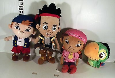 4 x JAKE AND THE NEVERLAND PIRATES SOFT TOY - PARROT CUBBIE JAKE IZZIE
