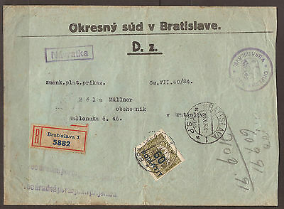 Slovakia. 1924. Registered Local Postage Due Cover. Bratislava.