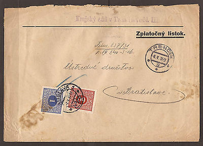Slovakia. 1931. Postage Due Cover.