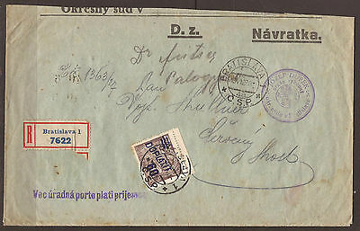 Slovakia. 1927. Postage Due Cover.