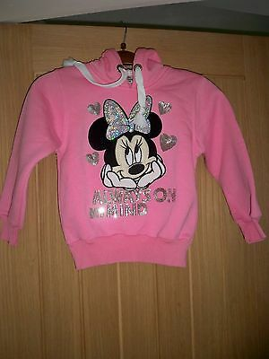 """Pink 'mickey Mouse 116' Girl's Hooded Top 28"""" Chest Length 17"""" Sequinned Minnie"""