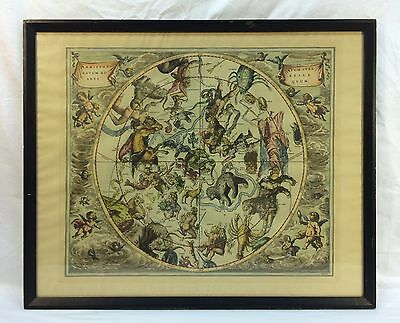 Antique Vintage Hand Colored Engraving Zodiac Astrology Horoscope Map Angels