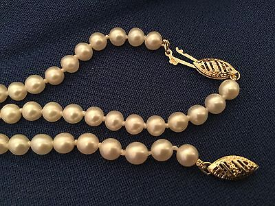 Cultured Pearl Necklace 9Ct Gold Clasp + Matching Bracelet. Boxed