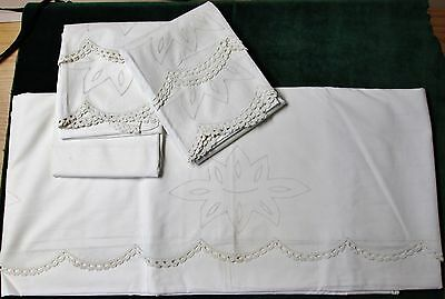 Antique Queen Size Sheet & 4 Pillow Cases Punchwork Crochet Trim Never Used