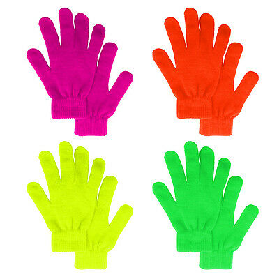 Gloves Stretchy Knit Mitten Winter Boys Girls Plain Solid Neon Warmer #16469