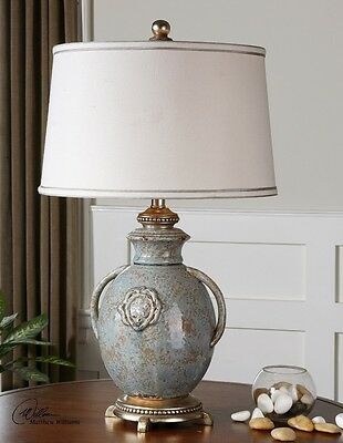 "French Country Old World Tuscan Textured Ceramic Table Lamp Distressed Blue 29""H"