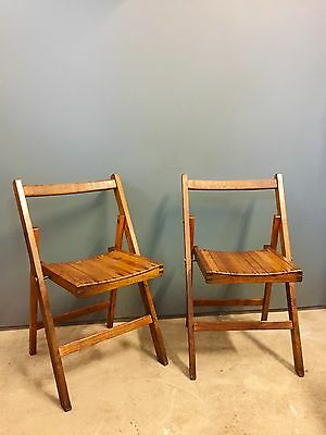 A PAIR OF 1940s FOLDING CHAIRS SOLID OAK KING GEORGE STAMPED 1942