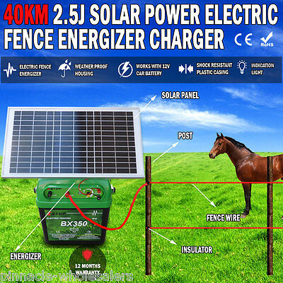 NEW 40km 2.5J Solar Power Electric Fence Energizer Charger Poly Wire Tape Posts