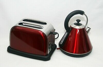 Matching Kitchen Set 1.8L Electric Cordless Kettle 2 Slice Bagel Toaster RED