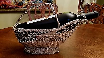 Vintage French Exquisite Silver Plate Woven Wine Bottle Basket Caddy HOLDER