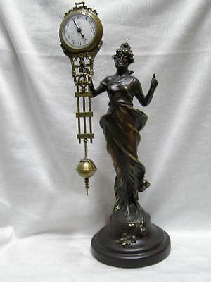 charming old chinese attractive Copper Belle Goddess Swing Machine Clock
