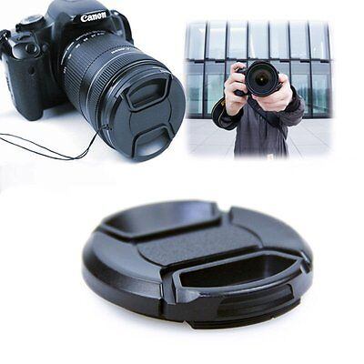 58mm Front Lens Cap Hood Center Pinch Snap Cover For Canon With Cord Accessory F
