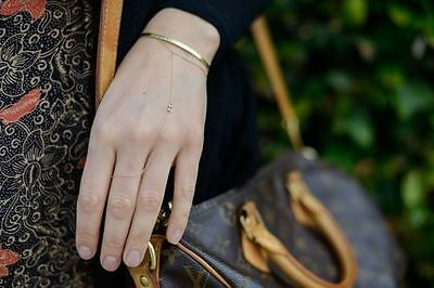 Jacquie Aiche 14K Yellow Gold Two Diamond Hand To Finger Chain Bracelet