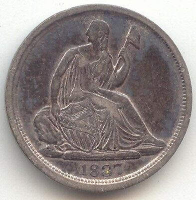 1837 Seated Liberty Half Dime, No Stars Type, Large Date, Choice VF