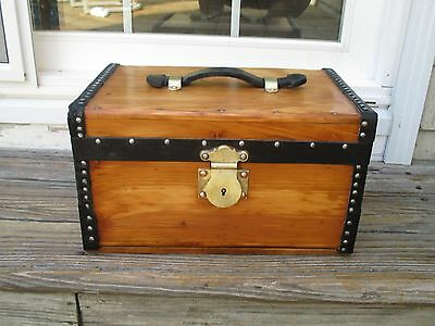 Antique Trunk - Box Heavy Brass Lock - Metal Tray with Compartments Restored
