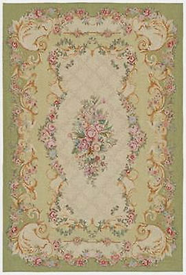 Dollhouse Miniature Light Green Flowers Floral Computer Printed Rug 1:12 Cotton