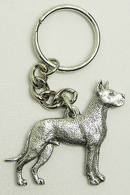 Great Dane Dog Keychain Keyring Harris Pewter Made USA Key Chain Ring