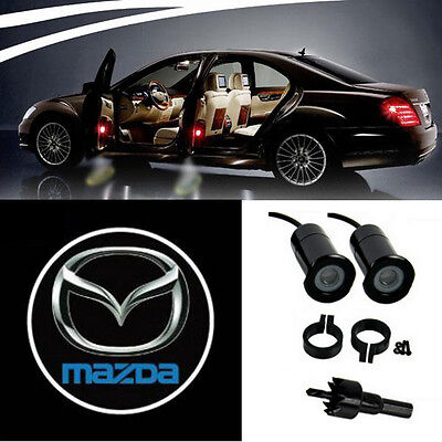 2 Mazda Logo LED Projection Lights Door Step Courtesy Welcome Ghost Shadow Light