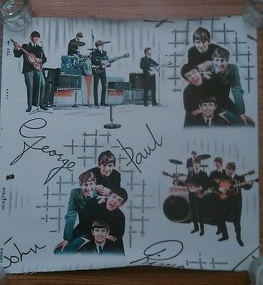 The Beatles 1964 full panel Wallpaper from a unused full roll MINT w/ border