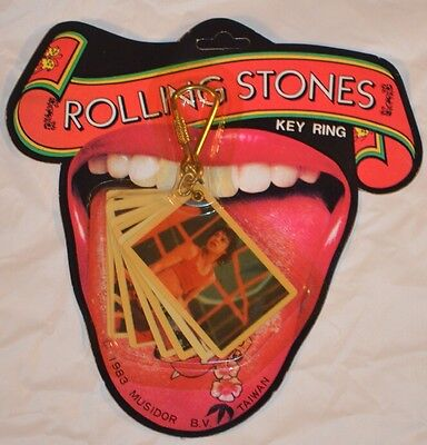 ROLLING STONES 1983 Vintage Key Ring With 6 Photos Key Chain MINT In Packaging