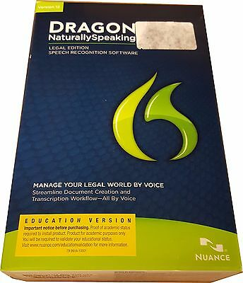 Nuance Dragon NaturallySpeaking Legal Student v12  A509A-F02-12.0 New Sealed