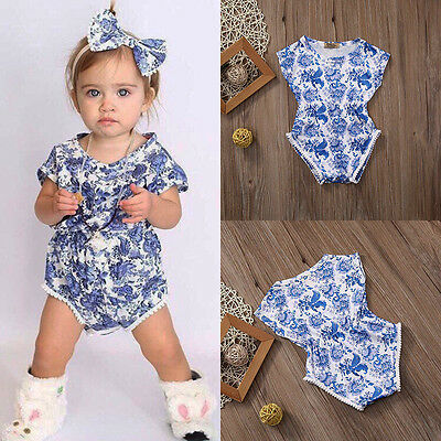Newborn Baby Girl Blue and White China Floral Romper Bodysuit Outfits Sunsuit AU