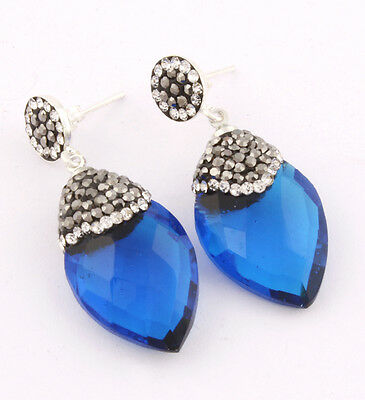 High Quality Turkish Sapphire Topaz 925K Sterling Silver Earring CJ-P9166