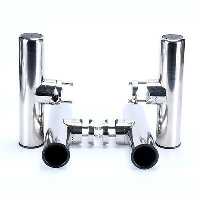 4 X Stainless Clamp On Rail Mount Rod Holder for Rails 25mm to 32mm