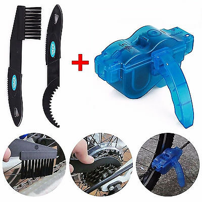 Cycling Bike Bicycle Chain Wheel Wash Cleaner Brushes Scrubber Tool Set Kit
