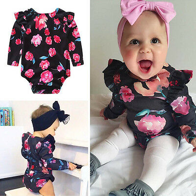Lovely Newborn Kids Baby Girls Floral Romper Jumpsuit Bodysuit Clothes Outfit AU