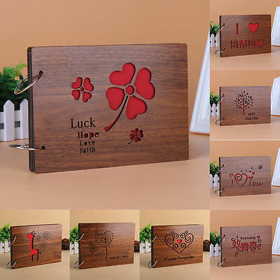 "New 10.5"" Wood Loose-leaf Photos Album DIY Scrapbooking Wood Cover Photo Albums"