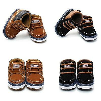 Newborn Toddler Baby Infant Boy Girl Soft Sole Crib Shoes Boots Size 0-12M New