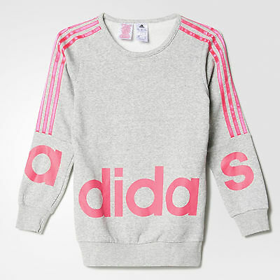Size 11/12 Years Old - Adidas Originals 3 Stripes Large Text Sweatshirt - Grey