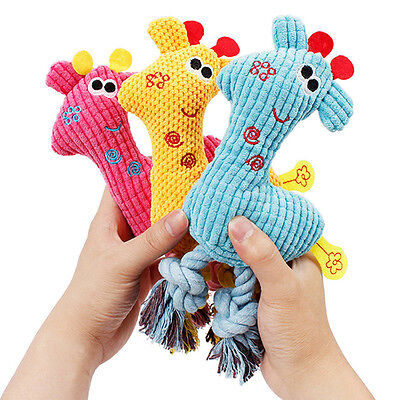 Neuf Girafe Peluche Jouet Sonore Mâcher Mordre Chew Toys Chien Chat Animaux Chew