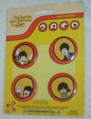 Beatles Yellow Submarine 4 Button Set, C&d Visionary Inc. Hard To Find