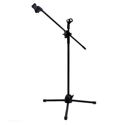 Dual Clips Boom Microphone Mic Stand Holder Adjustable Collapsible Tripod New DM