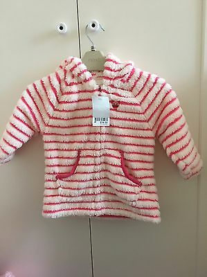 BNWT Girls NEXT Fleece Jacket Coat Pink White Stripe Cat Hood 12-18 Months