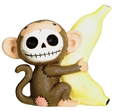 FurryBones Munky Figurine Brown Banana Cute Skull Skeleton Gothic Collectable